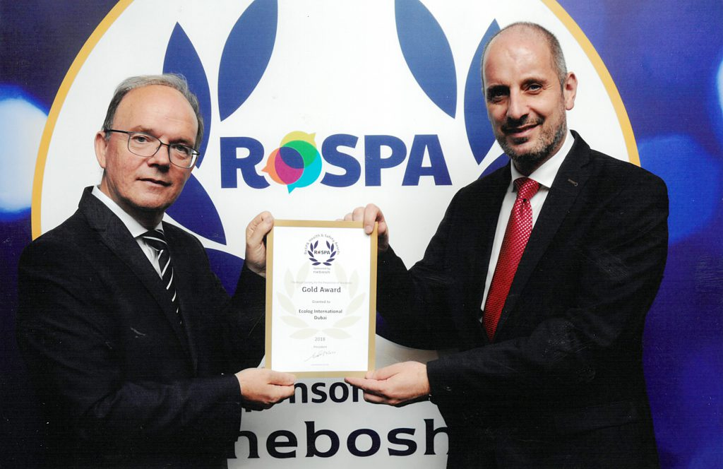 Ecolog wins second RoSPA Gold Award for Safety